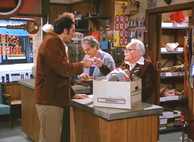 &#39;Seinfeld&#39; &#39;The Mom and Pop Store&#39;: In this Thanksgiving special episode, George buys a car that once belonged to John Voight and Kramer tries to save a shoe repair shop.  Elaine wins a radio contest in order to get Mr. Pitt to hold the Woody Woodpecker balloon in the Macy&#39;s Day Parade. <span class=meta>(Photo courtesy of Castle Rock Entertainment)</span>