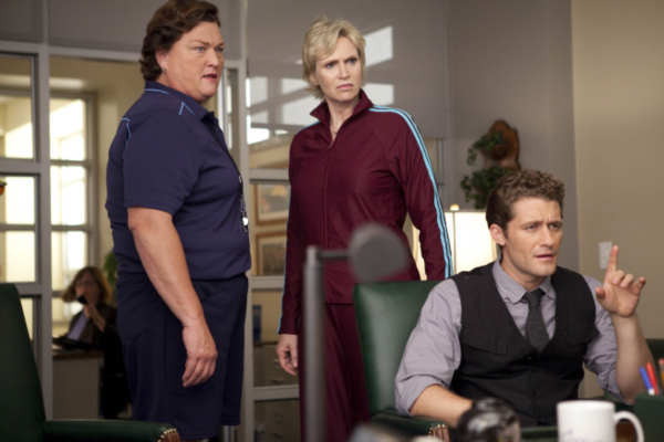 Coach Beiste &#40;guest star Dot Jones, L&#41;, Will &#40;Matthew Morrison, R&#41; and Sue &#40;Jane Lynch, C&#41; argue in Principal Figgins&#39; office in &#39;Audition&#39;, the season premiere episode of &#39;Glee&#39; airing Tuesday, Sept. 21 &#40;8:00-9:00 PM ET&#47;PT&#41; on FOX. &copy;2010 Fox Broadcasting Co. <span class=meta>(Photo courtesy of Adam Rose &#47; FOX)</span>