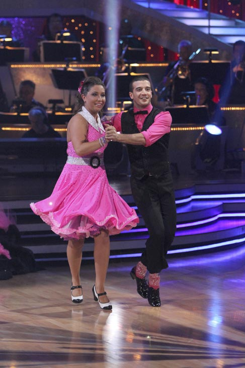 "<div class=""meta ""><span class=""caption-text "">Bristol Palin and Mark Ballas perform to the 'Monkees' theme on 'Dancing With the Stars,' Monday, Oct. 18, 2010. The judges gave the couple 18 points out of 30. (ABC Photo/Adam Larkey)</span></div>"