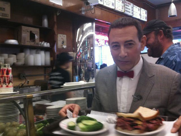 Pee-wee Herman visited New York&#39;s City&#39;s famous Katz Delicatessen. &#39;Finally! A Katz&#39;s Reuben!&#39; the actor Tweeted on Oct. 7, 2010. <span class=meta>(Photo courtesy of twitter.com&#47;PEEWEEHERMAN)</span>