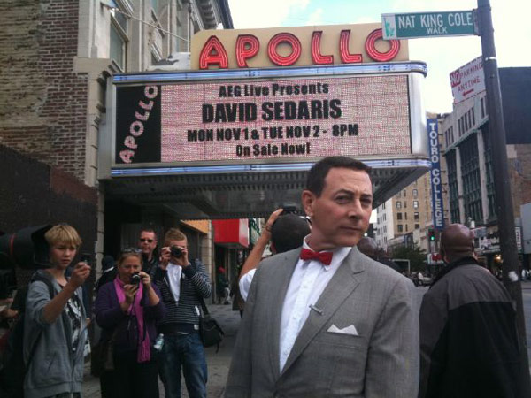 Pee-wee Herman visited the iconic Apollo Theater in Harlem, New York on Oct. 7, 2010. &#39;I couldn&#39;t find David Sedaris at The Apollo - but I looked!&#39; the actor Tweeted. Michael Jackson was inducted into the Apollo Legends Hall of Fame in June, almost a year after his death in Los Angeles. He and the Jackson 5 performed at the Apollo Theatre in the late 1960s during its Amateur Night, which launched their music careers. <span class=meta>(Photo courtesy of twitter.com&#47;PEEWEEHERMAN)</span>