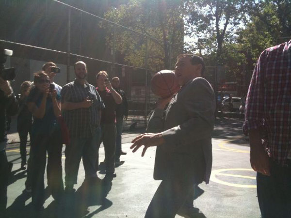 Pee-wee Herman horses around on a basketball court in New York City on Oct. 7, 2010. &#39;A photo of me playing H-O-R-S-E!&#39; the actor Tweeted. <span class=meta>(Photo courtesy of twitter.com&#47;PEEWEEHERMAN)</span>