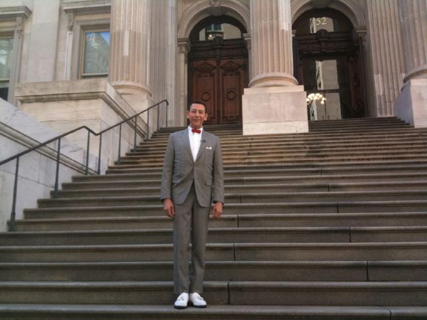 Pee-wee Herman is seen on the steps of New York City's City Hall.