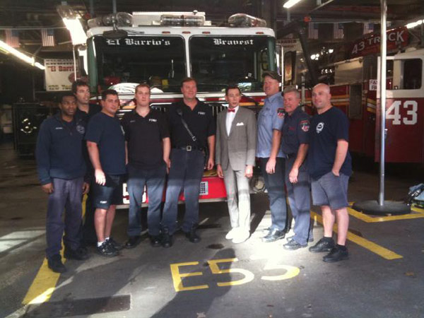 Pee-wee Herman visited some New York City firefighters on Oct. 7, 2010. &#39;A photo of me with some of New York&#39;s heroes at Engine 53 Ladder 43!&#39; the actor Tweeted. <span class=meta>(Photo courtesy of twitter.com&#47;PEEWEEHERMAN)</span>