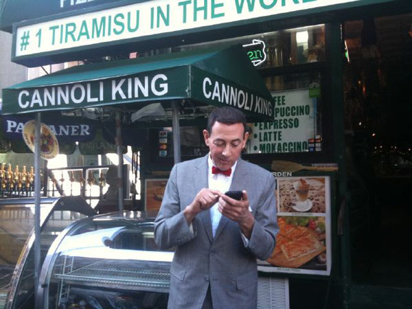 &#39;Checking in in Little Italy! Molto blahblah!&#39; Pee-wee Herman Tweeted on Oct. 7, 2010. <span class=meta>(Photo courtesy of twitter.com&#47;PEEWEEHERMAN)</span>