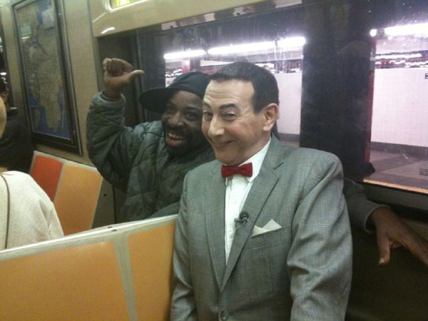 "<div class=""meta ""><span class=""caption-text "">'Making new friends on the Subway!' Pee-wee Herman Tweeted on Oct. 7, 2010. The actor is touring New York City and posting his locations on Foursquare to promote his new Broadway play. (Photo courtesy of twitter.com/PEEWEEHERMAN)</span></div>"