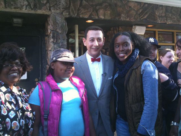 Pee-wee Herman visited Sylvia&#39;s, a soul food restaurant in Harlem, New York City, on Oct. 7, 2010. &#39;Had a great time at Sylvia&#39;s!&#39; the actor Tweeted. &#39;I even met some of Sylvia&#39;s family!&#39; <span class=meta>(Photo courtesy of twitter.com&#47;PEEWEEHERMAN)</span>