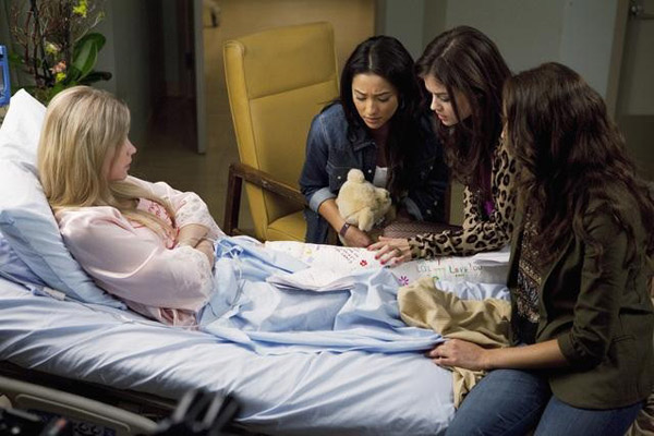 Lucy Hale &#40;Aria&#41;, Shay Mitchel &#40;Emily&#41;, Troian Bellisario &#40;Spencer&#41; and Ashley Benson &#40;Hanna&#41; appears in the &#39;Pretty Litle Liars&#39; episode &#39;Moment Later,&#39; which airs on Jan. 3, 2011 at 8 p.m. ET on ABC Family. During the episode, Aria, Emily, Hanna and Spencer and those around them must deal with the aftermath of what happened in Rosewood, PA one mysterious night. <span class=meta>(ABC Family &#47; Adam Rose)</span>