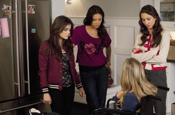 "<div class=""meta ""><span class=""caption-text "">Lucy Hale (Aria), Shay Mitchel (Emily), Ashley Benson (Hanna) and Troian Bellisario (Spencer) appear in the 'Pretty Litle Liars' episode 'Salt Meets Wound,' which airs on Jan. 10, 2011 at 8 p.m. ET on ABC Family. During the episode, surprises unsettle the Liars as 'A' continues the game. (ABC Family / Adam Rose)</span></div>"