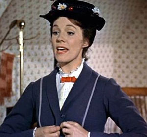 Julie Andrews taught the seven actors playing the von Trapp children how to sing 'Supercalifragilisticexpialidocious' from 'Mary Poppins'. (Pictured: Julie Andrews in a scene from 'Mary Poppins'.)