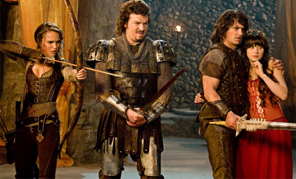 Natalie Portman as the warrior Isabel, James Franco and Danny McBride as princes Fabious and Thadeous and Zooey Deschanel as Belladonna in the 2011 fantasy comedy movie, &#39;Your Highness.&#39; <span class=meta>(Universal Pictures)</span>