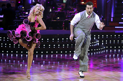 "<div class=""meta ""><span class=""caption-text "">Joey Fatone and Kym Johnson took second place on season 4.  Fatone was a member of the boy band, ''N Sync' and is currently the new host of the game show, 'Family Fued.' (Photo courtesy of ABC)</span></div>"
