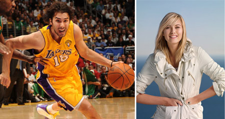 Los Angeles Lakers guard, Sasha Vujacic and Russian tennis star Maria Sharapova became engaged in October 2010.  &#39;We are engaged and are both really happy,&#39; Vujacic said on Oct. 21, 2010.  <span class=meta>(Photo courtesy of NBA.com and facebook.com&#47;sharapova)</span>
