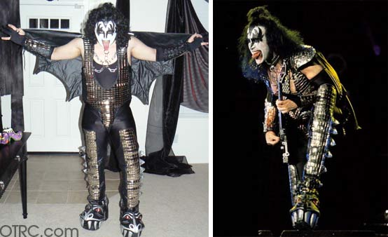 What could possibly scare Gene Simmons of the rock band Kiss?  He told OnTheRedCarpet.com: 'That so many people dress up like me.' (Pictured on the left: Gene Simmons in concert, on the right, a fan dressed up like the rocker.)