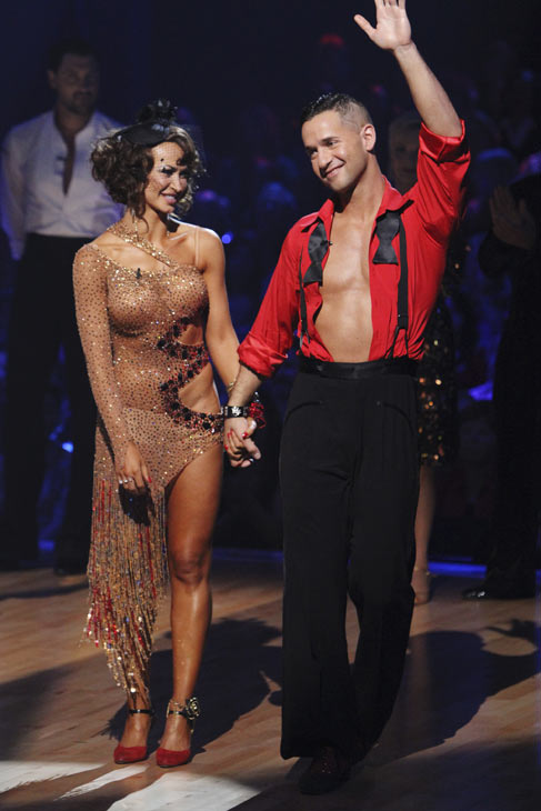 "<div class=""meta ""><span class=""caption-text "">Mike 'The Situation' Sorrentino and Karina Smirnoff react to being eliminated on 'Dancing With the Stars: The Results Show,' Tuesday, Oct. 12, 2010. The judges gave the couple 28 points out of 60. (ABC Photo/ Adam Larkey)</span></div>"