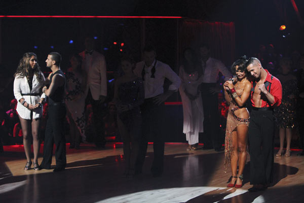 Mike &#39;The Situation&#39; Sorrentino, Karina Smirnoff, Bristol Palin and Mark Ballas wait to hear their fate on &#39;Dancing With the Stars: The Results Show,&#39; Tuesday, Oct. 12, 2010.  <span class=meta>(KABC Photo)</span>