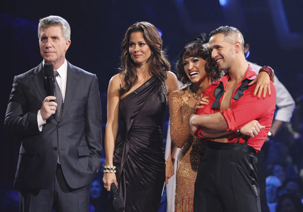 Mike &#39;The Situation&#39; Sorrentino and Karina Smirnoff react to being eliminated on &#39;Dancing With the Stars: The Results Show,&#39; Tuesday, Oct. 12, 2010. The judges gave the couple 28 points out of 60. Also pictured: Co-hosts Tom Bergeron and Brooke Burke. <span class=meta>(KABC Photo)</span>