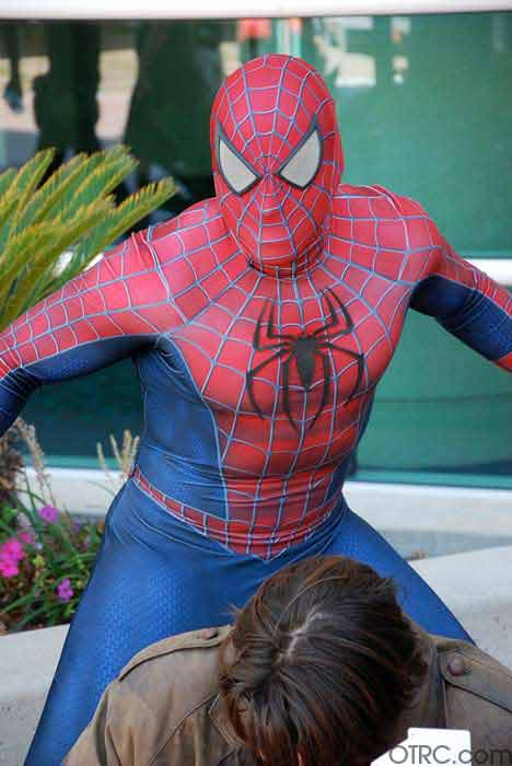 A fan dressed as Spider-Man is seen posing at...