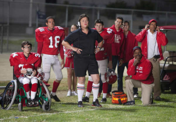 Coach Beiste &#40;guest star Dot Marie Jones, C&#41; and the football team watch from the sidelines in the &#39;Grilled Cheesus&#39; episode of GLEE airing Tuesday, Oct. 5 &#40;8:00-9:00 PM ET&#47;PT&#41; on FOX. &copy;2010 Fox Broadcasting Co. <span class=meta>(Photo courtesy of Adam Rose &#47; FOX)</span>