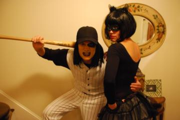 Singer Rob Thomas Tweeted on Oct. 31, 2010: &#39;Mari and I. Yes, I&#39;m repeating my baseball furies uniform, for anyone playing along.&#39; Thomas and his wife Marisol have been married since 1999. <span class=meta>(twitter.com&#47;ThisIsRobThomas)</span>