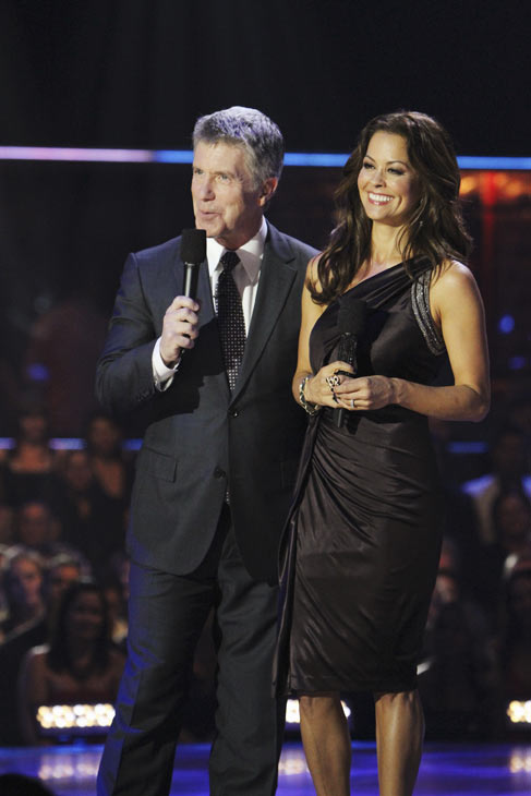 'Dancing With the Stars' co-hosts Tom Bergeron and Brooke Burke on Oct. 12, 2010.
