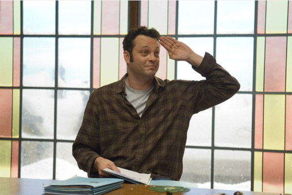 "<div class=""meta ""><span class=""caption-text "">'Wedding Crashers' star Vince Vaughn and his fiancée, Kyla Weber wed in January 2010 in a small ceremony. Recently, the couple confirmed in July 2010 that they are expecting their first child together. Pictured: Vince Vaughn in a scene from 'Fred Claus.' (Photo courtesy of Warner Bros. Pictures)</span></div>"