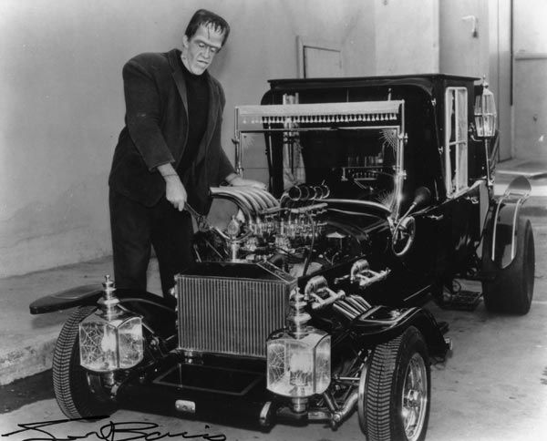 A photo of the Munsters TV car.