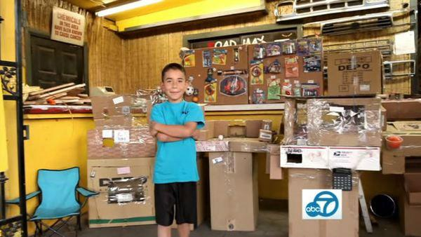 Nine-year-old Caine Monroy built his arcade in Boyle Heights using leftover cardboard boxes from his dad's store.