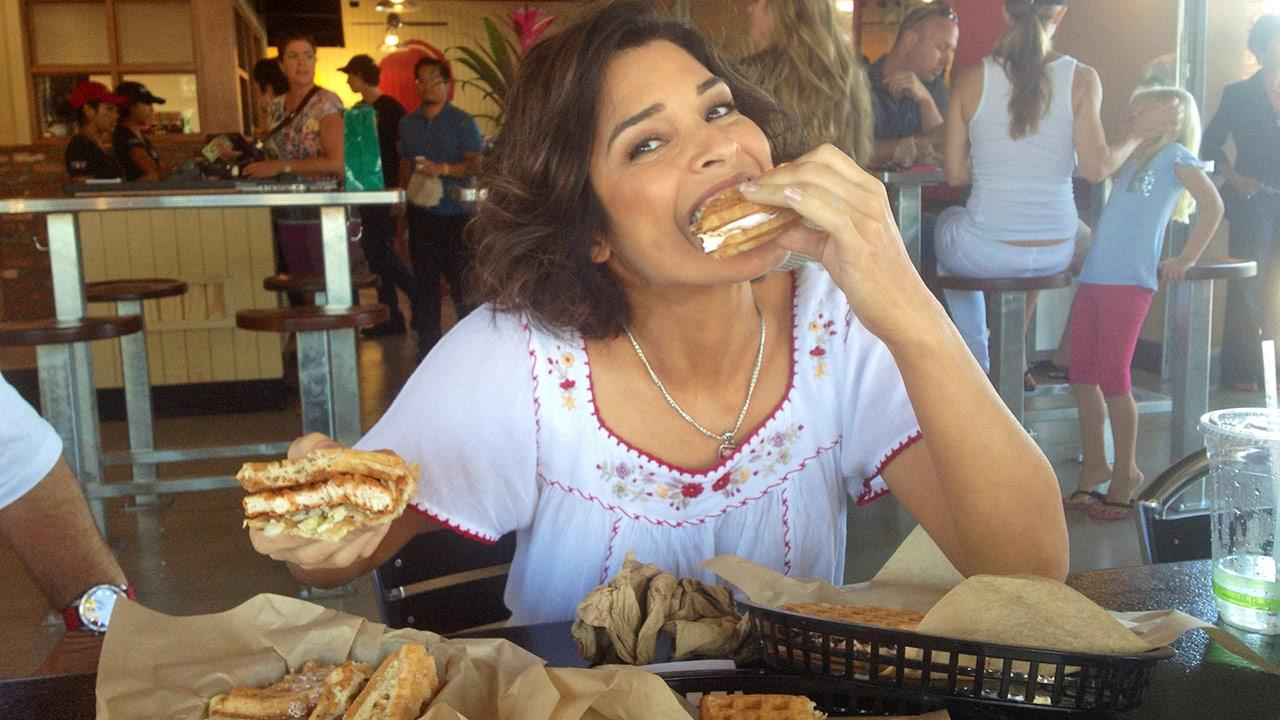 Eye On L.A.s Tina Malave enjoys some gourmet waffle sandwiches at Bruxie.