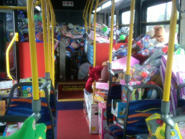 Toys on the first bus to help Garth the Elf Stuff-A-Bus at Los Cerritos Center on Thursday, Nov.18, 2010. <span class=meta>(KABC)</span>