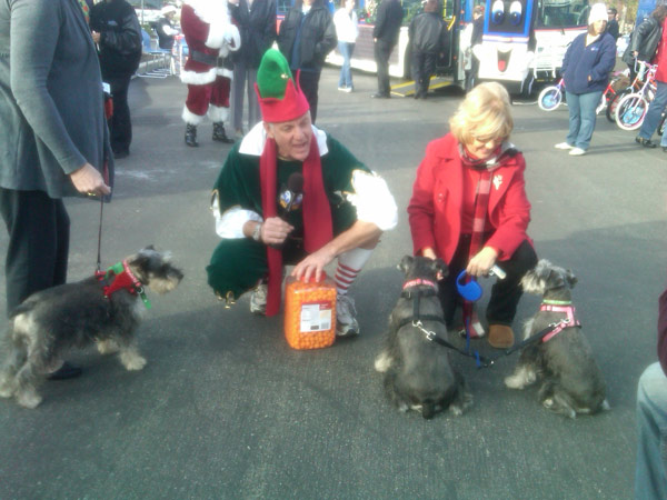 Dogs join Garth the Elf at the Stuff-A-Bus event at Ontario Mills on Friday, Dec. 3, 2010. <span class=meta>(KABC)</span>