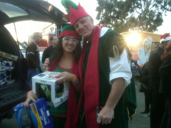 Teen dresses to match Garth the Elf at a Stuff-A-Bus event at Ontario Mills on Friday, Dec. 3, 2010. <span class=meta>(KABC)</span>