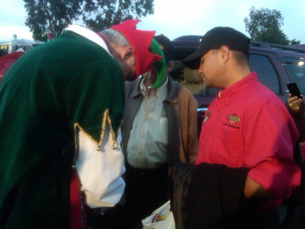 "<div class=""meta ""><span class=""caption-text "">Garth the Elf looks at toys donated at a Stuff-A-Bus event at Ontario Mills on Friday, Dec. 3, 2010. (KABC)</span></div>"