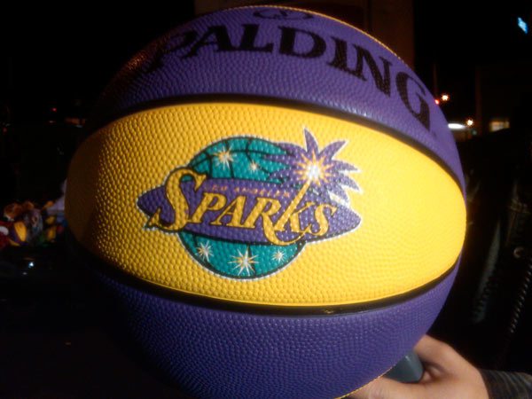 The Los Angeles Sparks brought basketballs to help Stuff-A-Bus event at Gateway Plaza Center in Woodland Hills on Friday. <span class=meta>(KABC)</span>