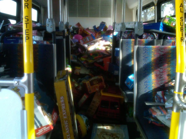 The second bus that is a third way full at the Stuff-A-Bus event at Gateway Plaza Center in Woodland Hills. <span class=meta>(KABC)</span>