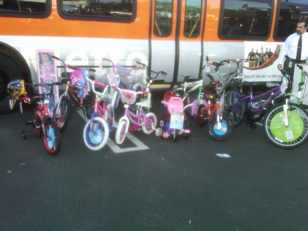 Lots of bicycles were donated at the Stuff-A-Bus event at Gateway Plaza Center on Dec. 10, 2010 Friday.  <span class=meta>(KABC)</span>