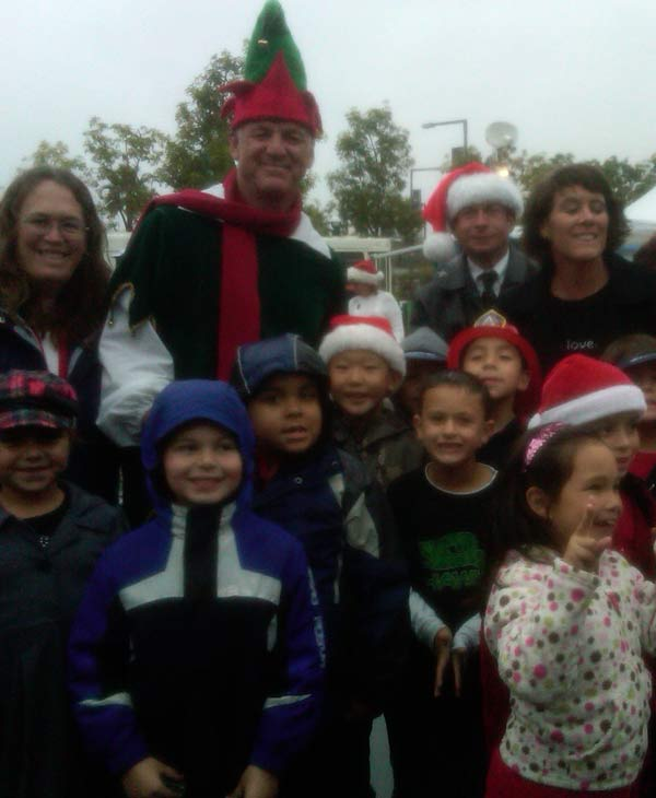 Posing with Garth the Elf at the Stuff-A-Bus event at The Honda Center in Anaheim on Friday, Dec. 17, 2010. <span class=meta>(KABC)</span>