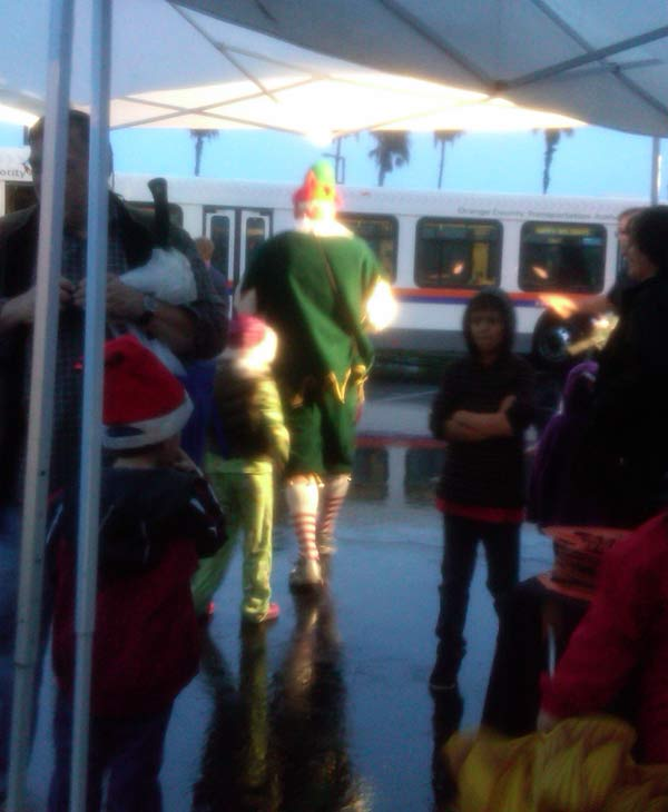 Garth the Elf and friend at the Stuff-A-Bus event at The Honda Center in Anaheim on Friday, Dec. 17, 2010. <span class=meta>(KABC)</span>