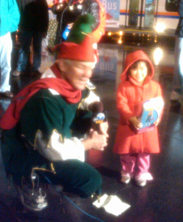 Garth the Elf and Lana at the Stuff-A-Bus event at The Honda Center in Anaheim on Friday, Dec. 17, 2010. <span class=meta>(KABC)</span>