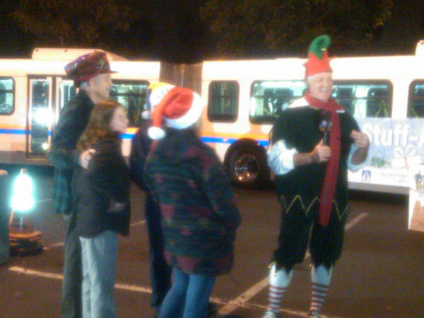 Residents join Garth the Elf at the Stuff-A-Bus event at the Honda Center in Anaheim on Friday, Dec. 17, 2010. <span class=meta>(KABC)</span>