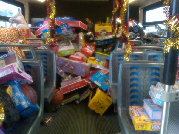 The third bus is seen almost full of toys at the Stuff-A-Bus event at the Honda Center in Anaheim on Friday, Dec. 17, 2010. <span class=meta>(KABC)</span>