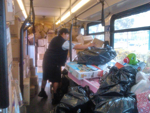 Another bus almost full at the Stuff-A-Bus event at the Honda Center in Anaheim on Friday, Dec. 17, 2010. <span class=meta>(KABC)</span>