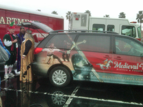 Employees from Medieval Times stop by the Stuff-A-Bus event at the Honda Center in Anaheim on Friday, Dec. 17, 2010. <span class=meta>(KABC)</span>