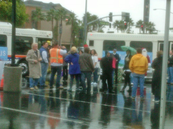 The rainy weather didn&#39;t stop residents from coming out to the Stuff-A-Bus event at the Honda Center in Anaheim on Friday, Dec. 17, 2010. <span class=meta>(KABC)</span>