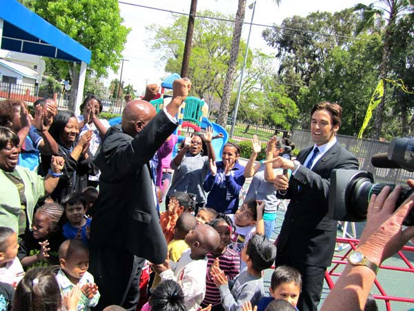 "<div class=""meta ""><span class=""caption-text "">Drew Childhood Development Corporation: Officials and kids at the Drew Childhood Development Corporation react after ABC7's Elex Michaelson announces they are receiving $7,000 to pay it forward. Read more about the Drew Childhood Development Corporation. (KABC Photo)</span></div>"