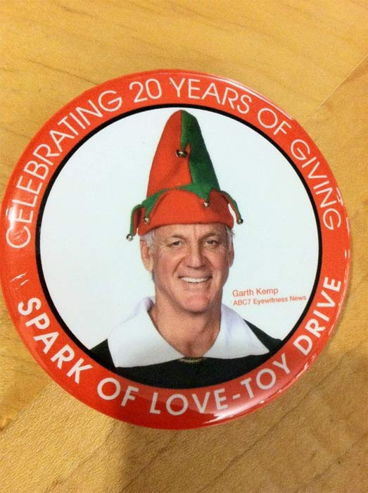 500 Garth the Elf pins were given out to donors at the Spark of Love Toy Drive in Ontario on Friday, Nov. 30, 2012. <span class=meta>(KABC)</span>