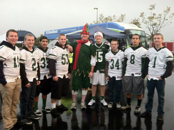Bonita High School football players at the Spark of Love Toy Drive in Ontario on Friday, Nov. 30, 2012. <span class=meta>(KABC)</span>