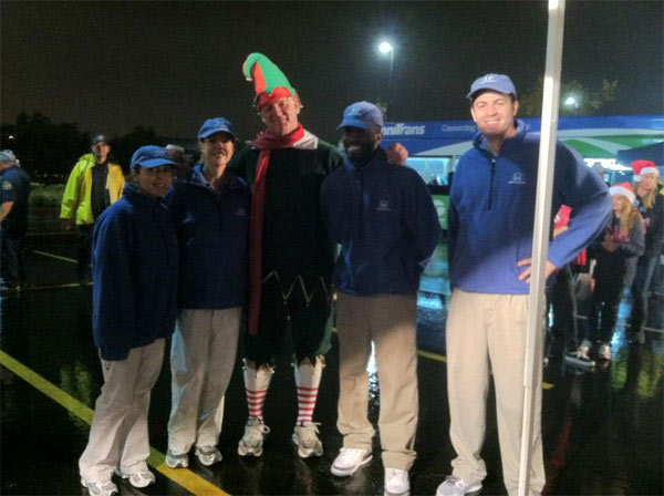 "<div class=""meta ""><span class=""caption-text "">Garth the Elf and Honda Helpers at the Spark of Love Toy Drive in Ontario on Friday, Nov. 30, 2012. (KABC)</span></div>"