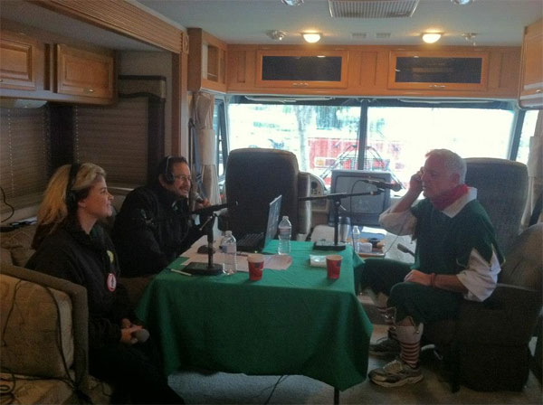 Garth the Elf on K-FROG 95.1 radio at the Spark of Love Toy Drive in Ontario on Friday, Nov. 30, 2012.