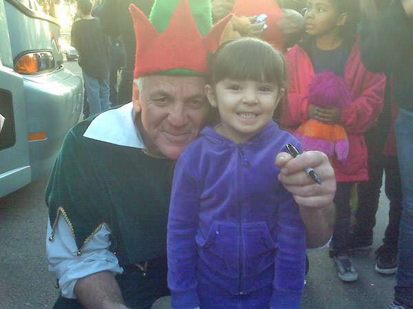 Leah with Garth Kemp on Dec. 3rd in Ontario for Spark of Love Toy Drive. <span class=meta>(ABC7 Photo)</span>